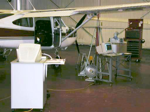 Area view of aircraft being inspected